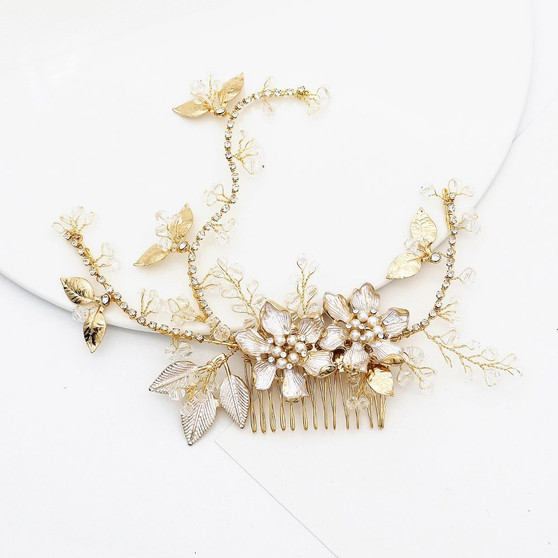 Pearl and Rhinestone Floral Bridal Comb