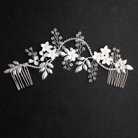 Floral Vine Pearl and Rhinestone Bridal Hair Comb