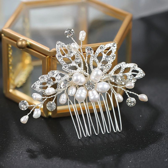 Pearl Floral Leaf Design Wedding Hair Comb