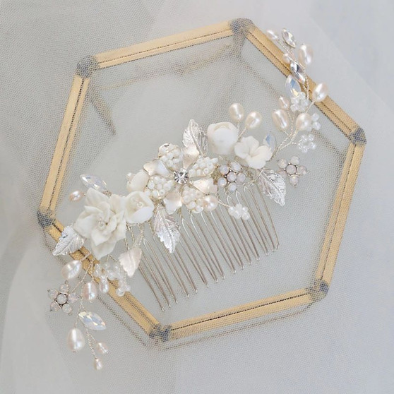 Ceramic Flower Wedding Hair Comb with Pearls