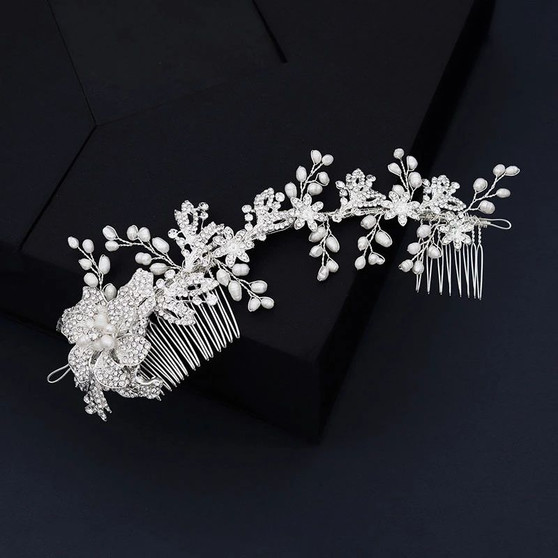Floral Pearl and Rhinestone Bridal Hair Comb