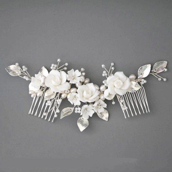 Chic Silver Plated Floral Bridal Comb