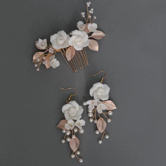 Floral Pearl Bridal Hair Comb Earrings 3 Piece Set