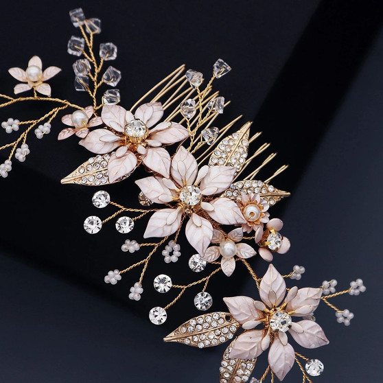Gold Floral Vine Crystal Bridal Hair Comb