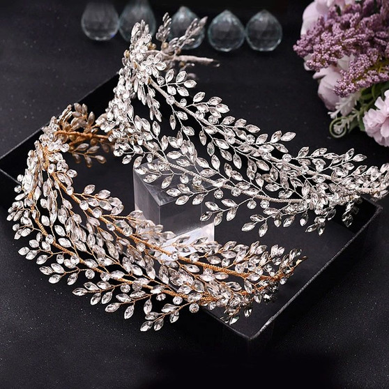 Luxury Gold or Silver Vine Bridal Headpiece with Sparkling Crystals
