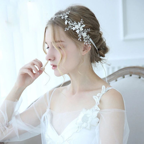 Silver Bridal Hair Vine with Flowers