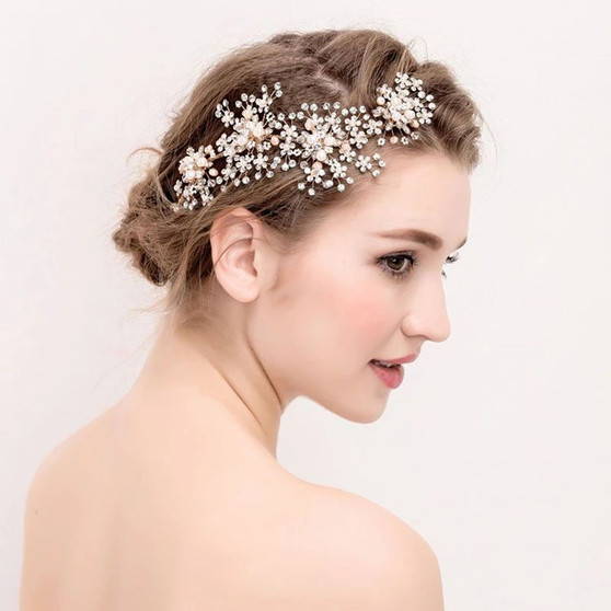 Bridal Vine Headband with Pearl Flowers Silver, Gold, Rose Gold