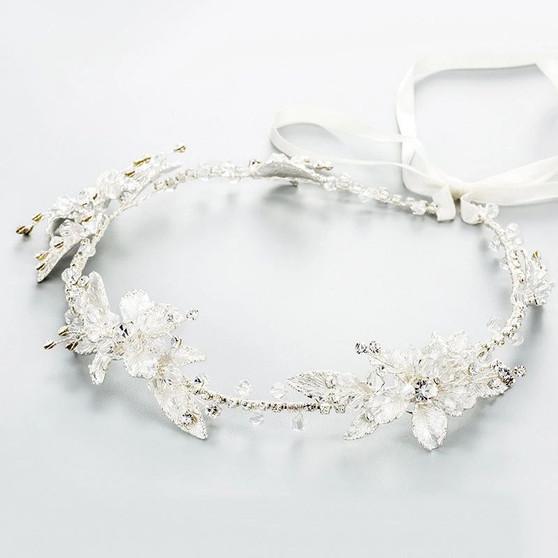Silver Wedding Hair Vine with Lavish Floral Details