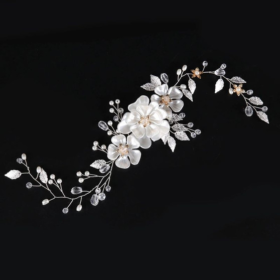 Crystal & Pearl Hand Wired Floral Wedding Hair Vine