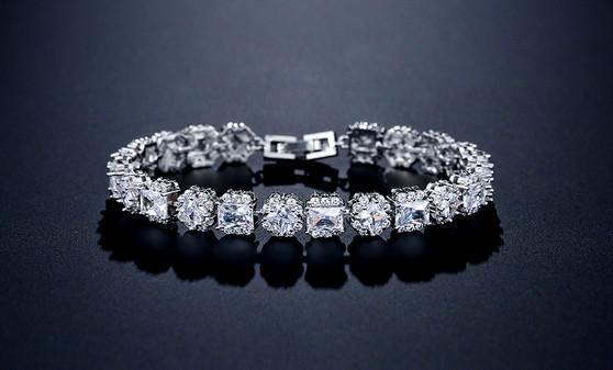 CZ Crystal Wedding Bracelet Silver