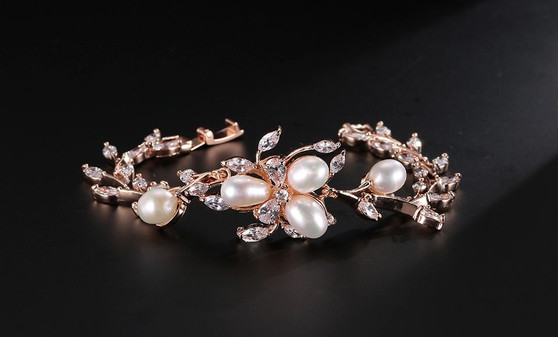 Cubic Zirconia Pearl Bridal Bracelet in Silver, Rose Gold