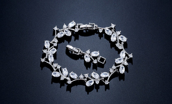 Bridal Wedding Bracelet with Sparkling CZ Gemstones in silver