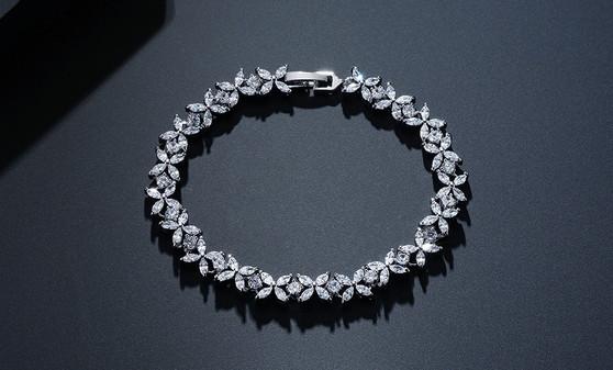 Affordable CZ Crystal Wedding Bracelet in Silver