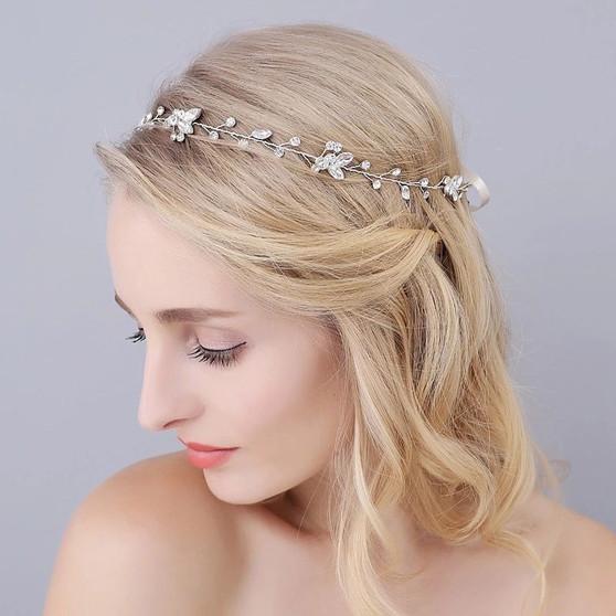 Elegant Bridal Hair Vine with Rhinestone Flowers