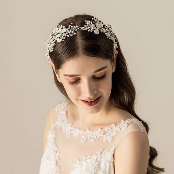 Rhinestone & Pearl Hand Wired Floral Wedding Hair Vine Tiara Headband