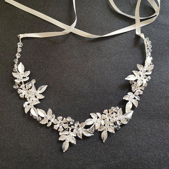 Leaf & Flower Bridal Hair Vine with Rhinestones