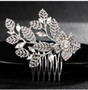 Dainty Rhinestone Floral Wedding Hair Comb in Silver, Rose Gold