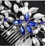 Blue Rhinestone Flower Bridal Hair Comb in Silver