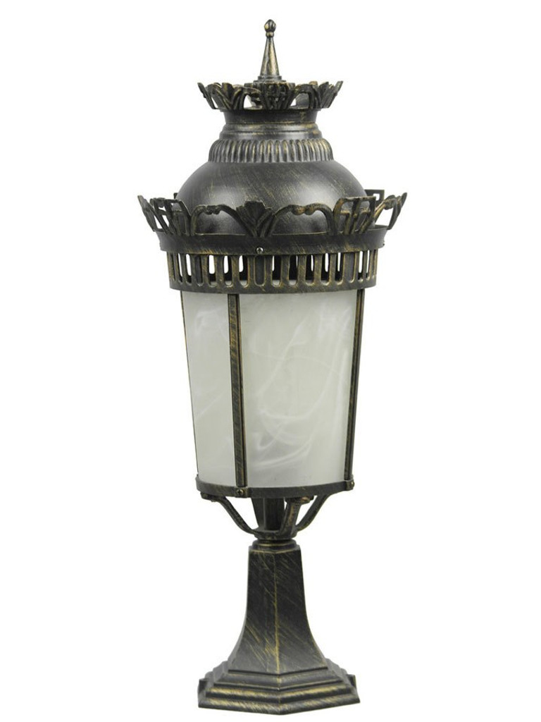 OUT00098 - Al Masah Crystal Black Gold Pedestal Gatepost Light (S1-M)