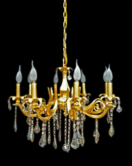 1210-8 Light Crystal Gold Champagne Chandelier