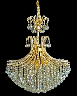 2198-18 Light Crystal Gold Champagne Chandelier