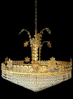 6521-12 Light Crystal Gold Chandelier