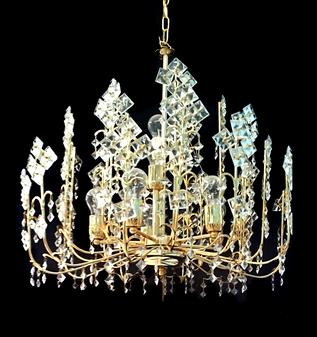 526/75-8 Light Crystal Gold Chandelier