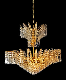 73018075-9 Light Crystal Gold Chandelier