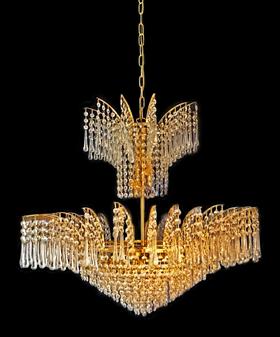 73018065-9 Light Crystal Gold Chandelier