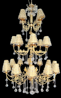 9010-24 Light with Shade Crystal Gold Chandelier