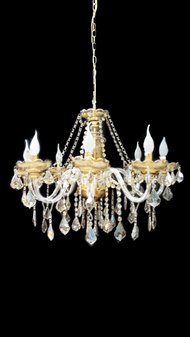 YD614-8 Light Crystal Glass Gold Chandelier
