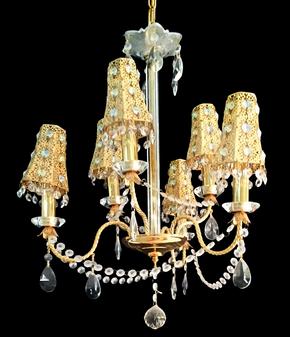 9018-6 Light Iron Gold Chandelier