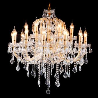 2614-18 Light Crystal Gold Chandelier