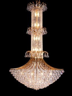 3019-37 Light Crystal Gold Chandelier