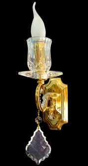 0003-1W(A)-1 Light Gold with Glass Sconce