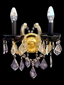 0524B-2 Light Crystal Gold Sconce