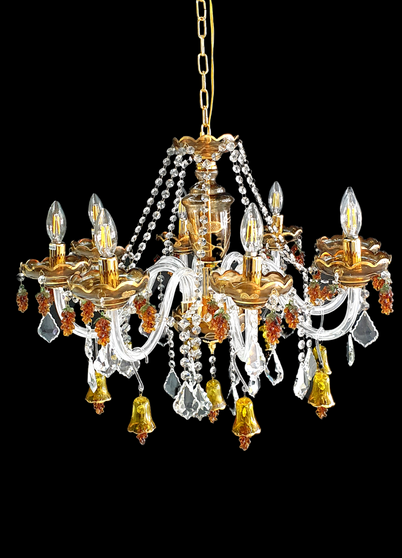 YD614-8 Light Grape Crystal Metal Gold Chandelier