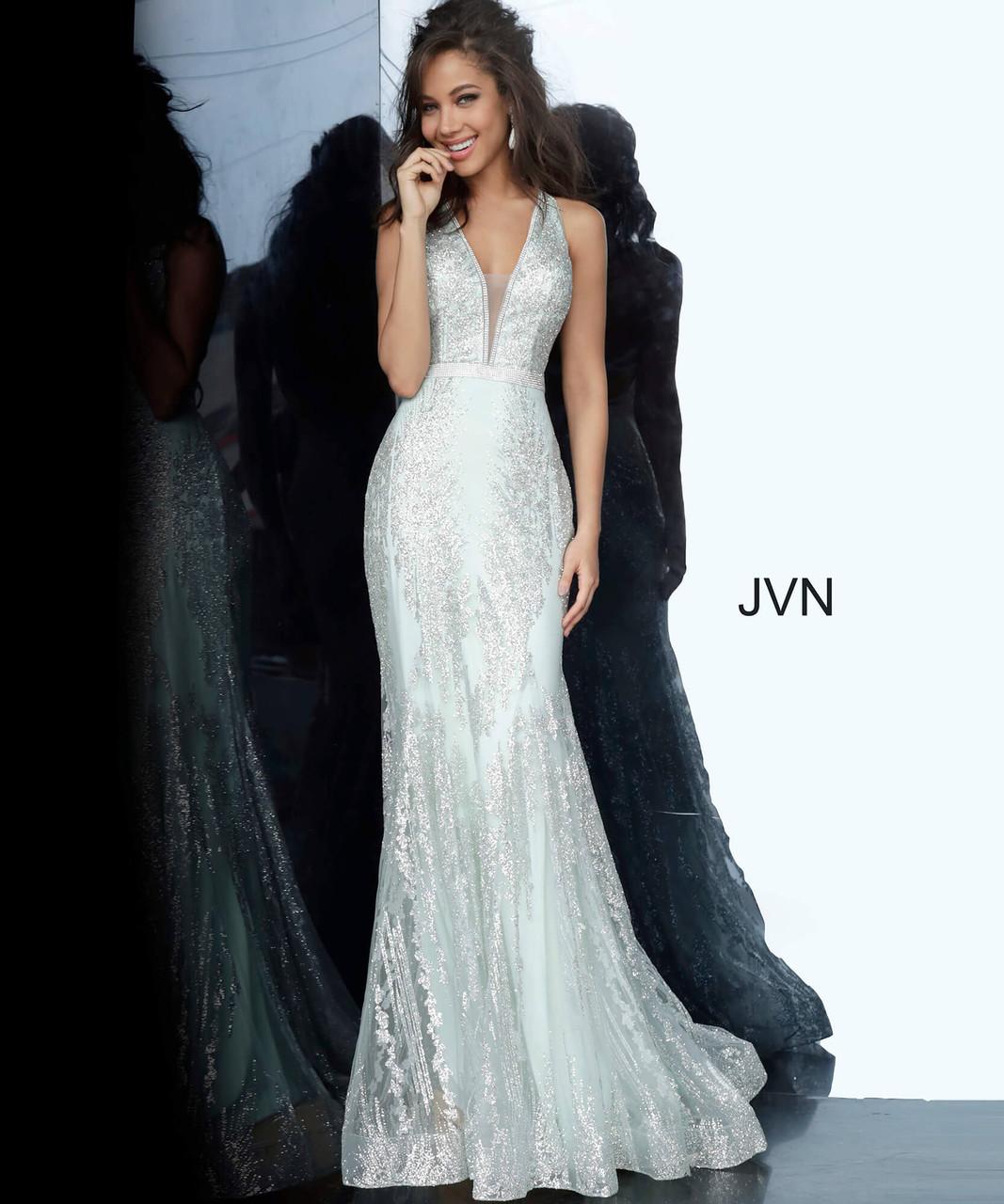 Jovani Prom JVN3663 Bedazzled Deep V-Neck Trumpet Dress