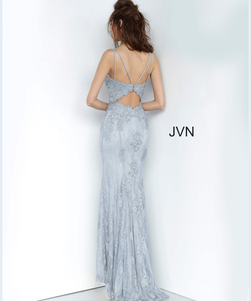 Jovani Prom JVN66971 Lace Deep V-Neck Trumpet Dress With Train