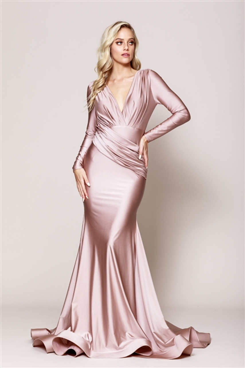 Amelia Couture 381 Long Sleeves Gorgeous Satin Gown