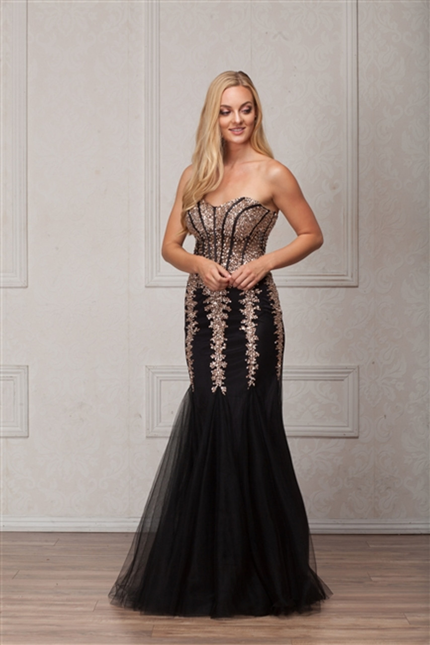Amelia Couture 774 Mermaid Black Prom Gown