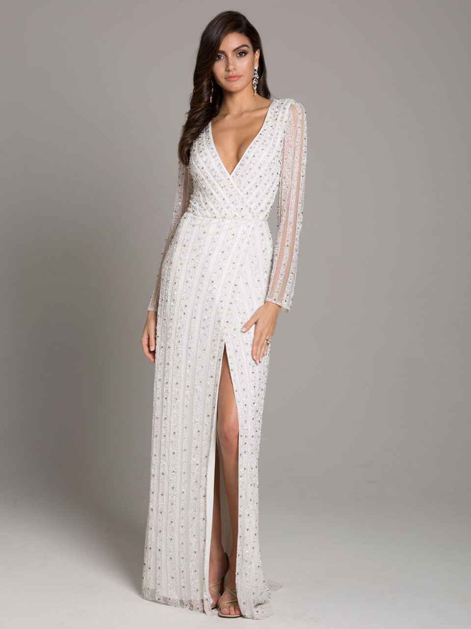 Lara 51007 Beaded Long Sleeve Ivory Dress With Slit