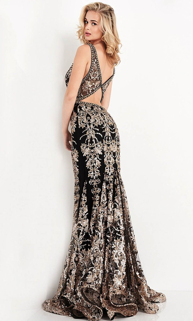 Jovani Prom JVN04789 Embroidered Plunging V Neck Trumpet Dress