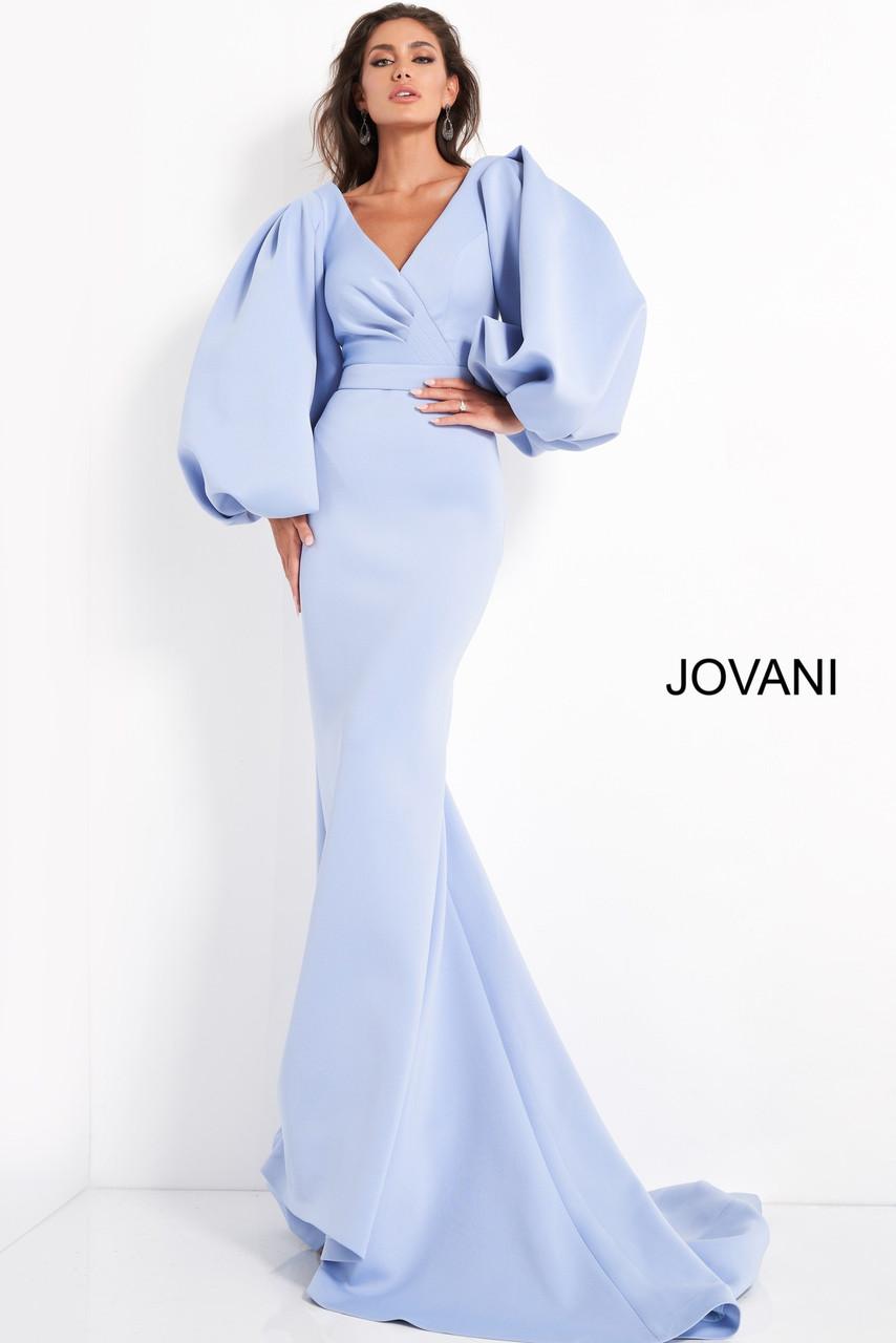 Jovani 04371 Long Puff Sleeve Evening Dress