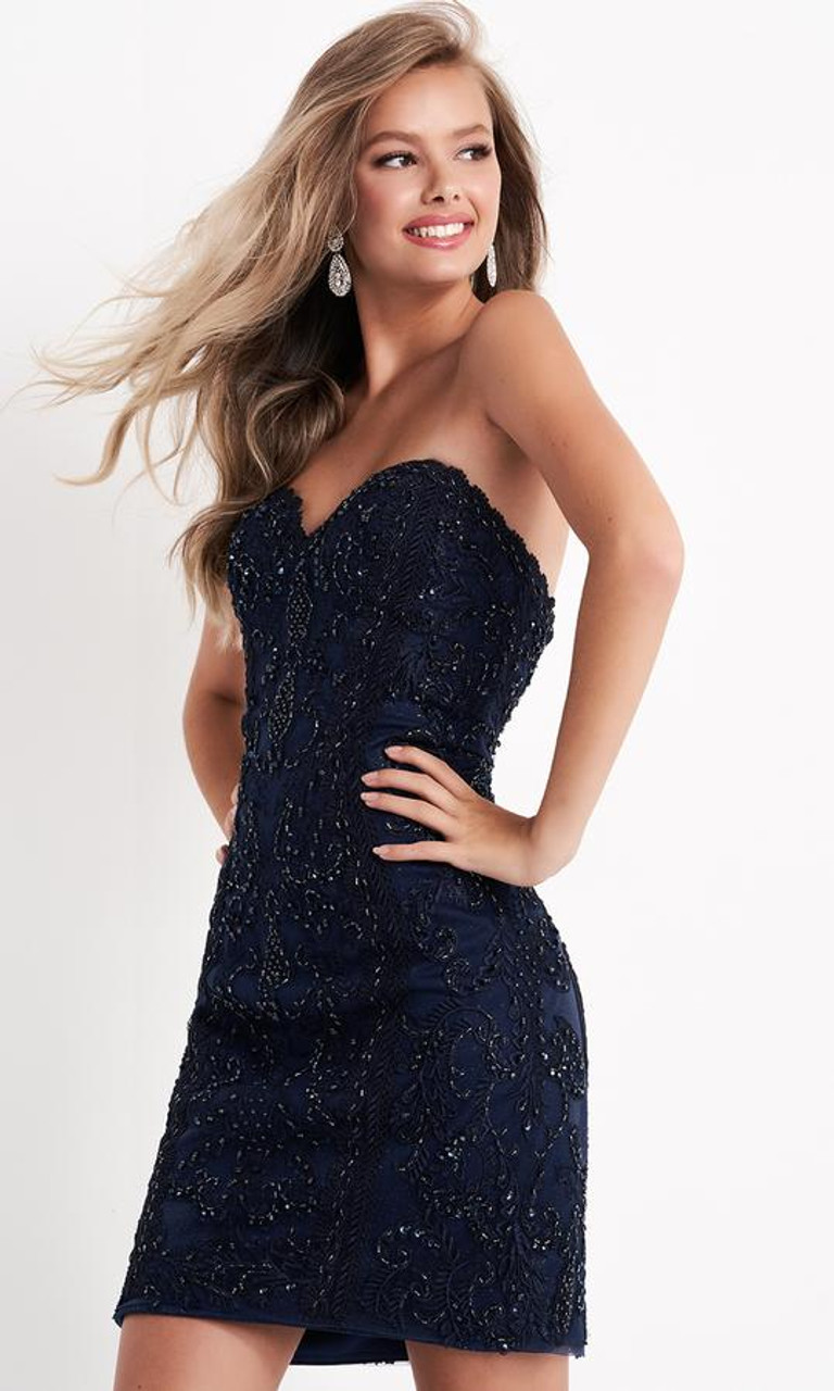 Jovani JVN04520 Beaded Sweetheart Fitted Cocktail Dress