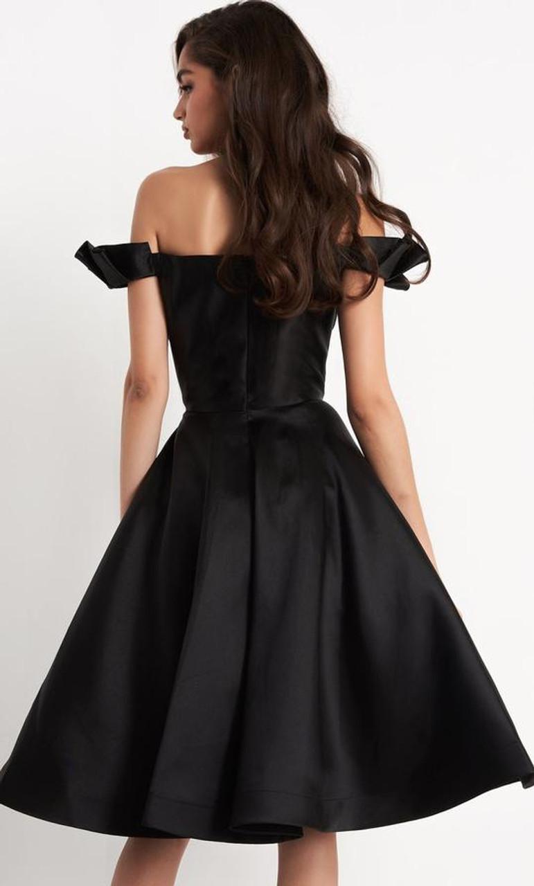Jovani JVN04718 Ruffled Off-shoulder Sleeve A-line Cocktail Dress