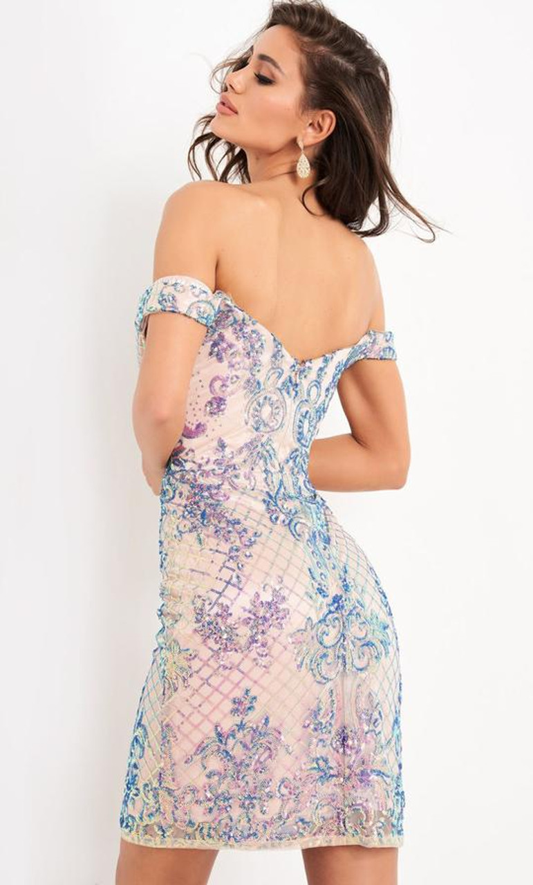 Jovani JVN05251 Off-shoulder Sequin Adorned Cocktail Dress