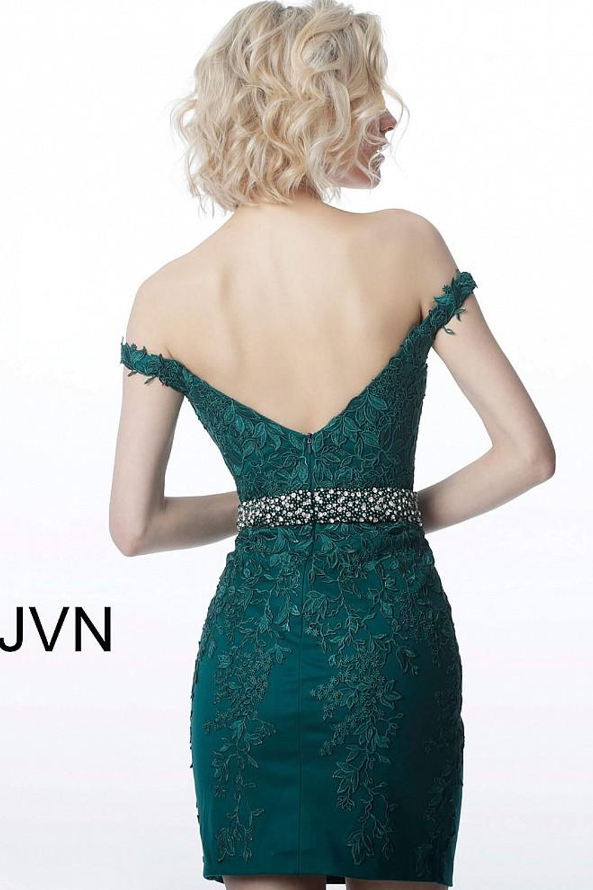Jovani JVN1102 Off Shoulder Short Fitted Lace Cocktail Dress