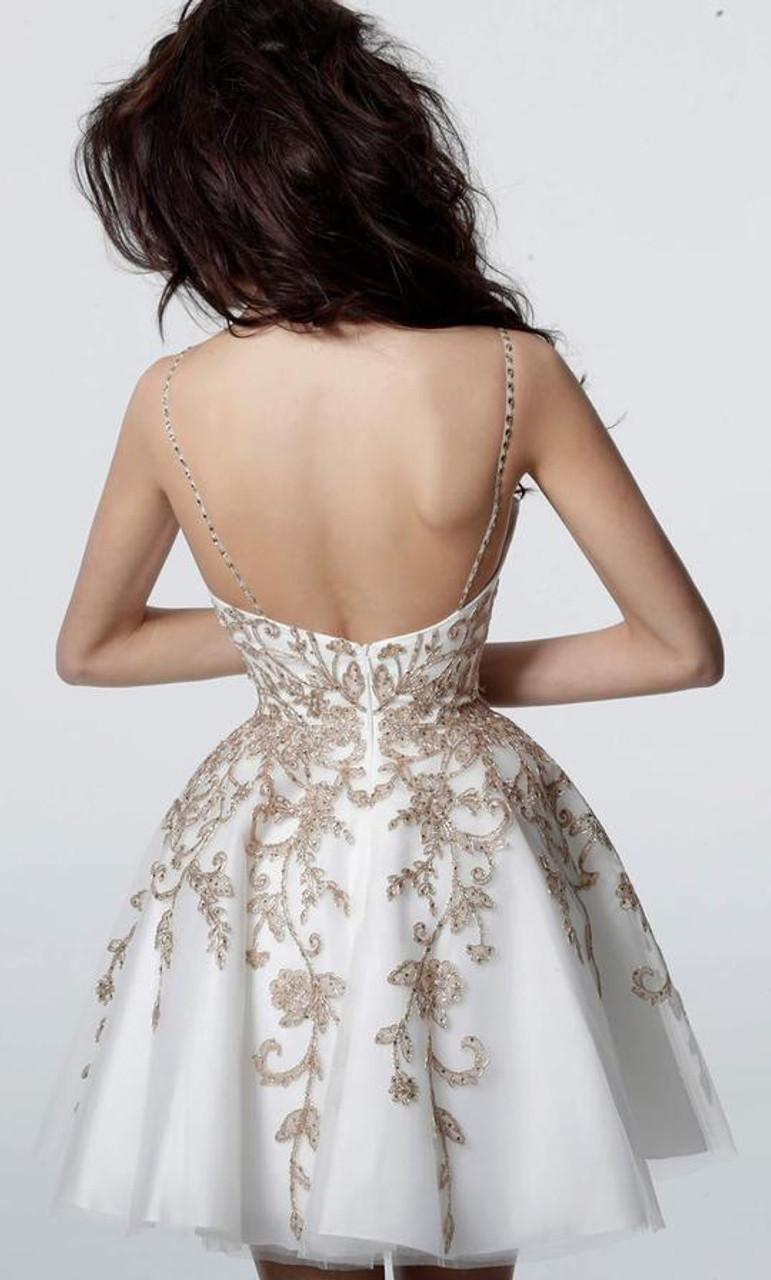Jovani JVN3906 Short Gilt Embroidered A-line Dress