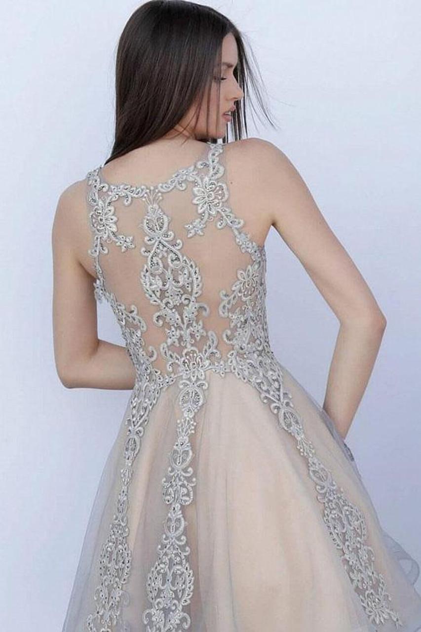Jovani JVN63907 Beaded Appliqued A-line Cocktail Dress